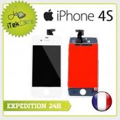 Ecran LCD coloris blanc sur chassis pour iPhone 4S