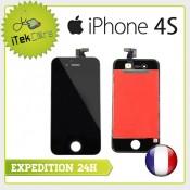 Ecran LCD coloris noir sur chassis pour iPhone 4S