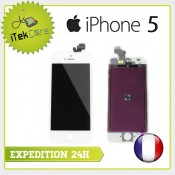 Ecran LCD coloris blanc sur chassis pour iPhone 5