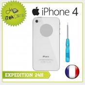 Vitre arrière blanche uni pour iPhone 4 châssis prémonté
