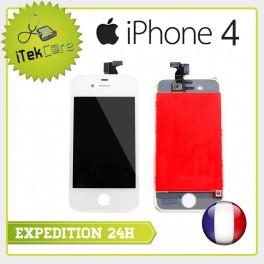 Ecran LCD coloris blanc sur chassis pour iPhone 4
