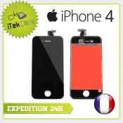 Ecran LCD coloris noir sur chassis pour iPhone 4