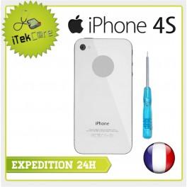 Vitre arrière blanche uni pour iPhone 4S châssis prémonté